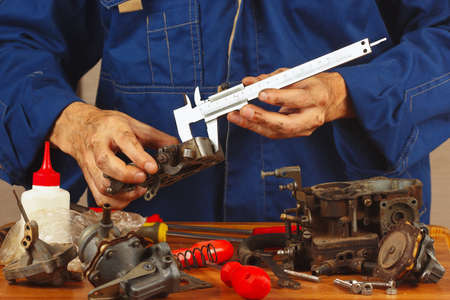 calipers: Repair of parts of automotive engine in the workshop