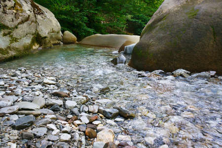 Marvellous mountain small river among the southern forests Stock Photo