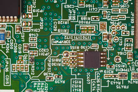 Electronic circuit board with digital components close up.