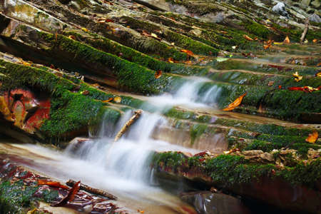 quite: Rocks covered with moss with a flowing streams of the mountain creek