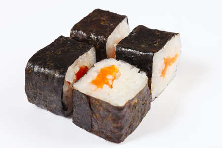 Portion of sushi with salmon on a white background close up.