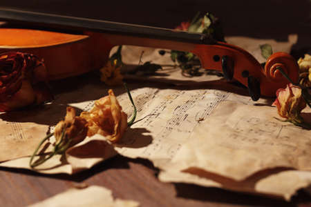Vintage violin, dried flowers and rare torn sheet music on wooden background close up. Zdjęcie Seryjne