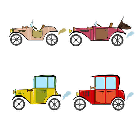 Set of vintage cars in cartoon style on a white background. Collection with retro cars. 일러스트
