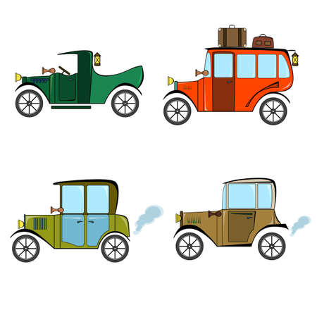 Set of retro cars, bus and pickup in cartoon style on a white background. Collection with vintage car, bus and pickup. 일러스트