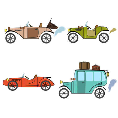 Set of retro cars, bus and sports car in cartoon style on a white background. Collection with vintage car, bus and sports car.