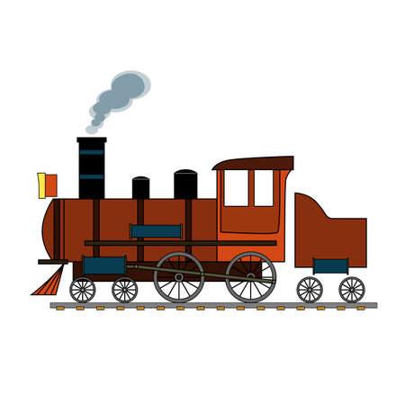 Red retro steam train on a white background. Illustration