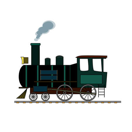 Black and green retro steam train on a white background. Illustration