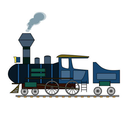 Black and blue retro steam locomotive on a white background. Illustration