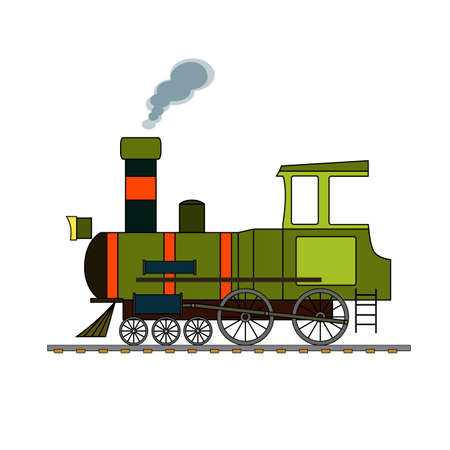 Green and red retro steam puffer on a white background. Illustration