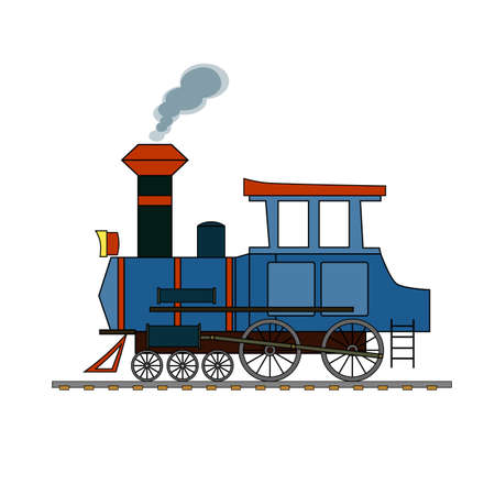 Blue and red retro steam locomotive on a white background. Illustration