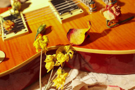 Still life with a vintage electric guitar, dried flowers and old music notes close up.