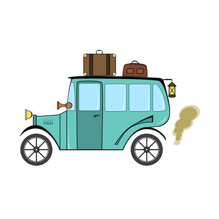 Turquoise retro bus in cartoon style on a white background.