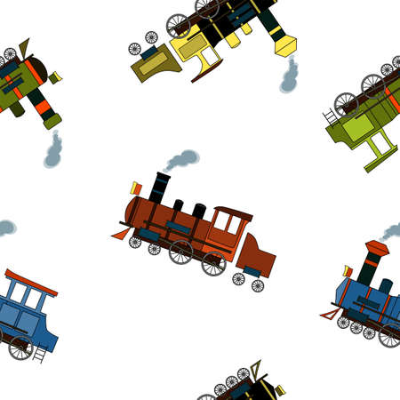 Seamless pattern with vintage steam locomotives in cartoon style on a white background.