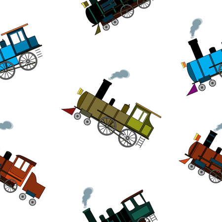 Seamless pattern with retro steam trains in cartoon style on a white background.