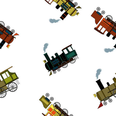 Seamless pattern with retro steam locomotives in cartoon style on a white background.