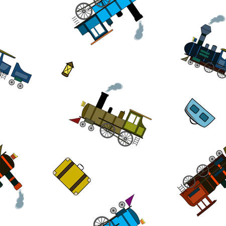 Seamless pattern with retro steam trains and bags in cartoon style on a white background. Иллюстрация