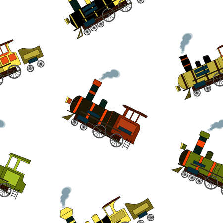 Seamless pattern with vintage steam trains in cartoon style on a white background.