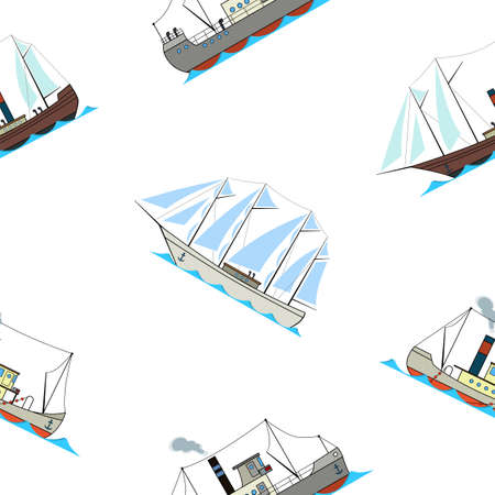 Seamless pattern with retro ships in cartoon style on a white background. Illustration
