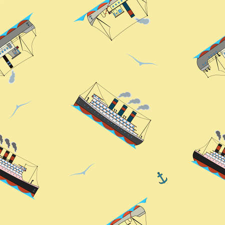 Seamless pattern with vintage steam ships and seagulls in cartoon style on a beige background. Stock Illustratie