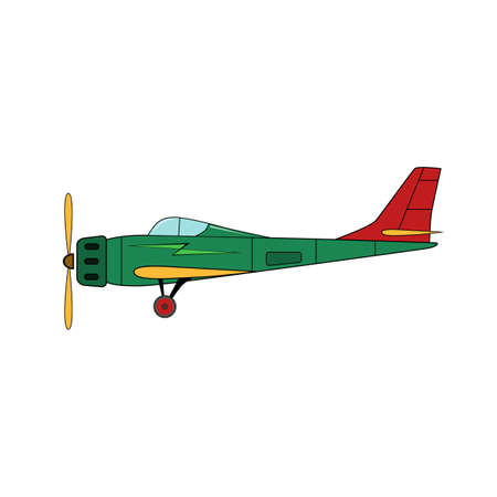 Green plane in cartoon style on a white background.