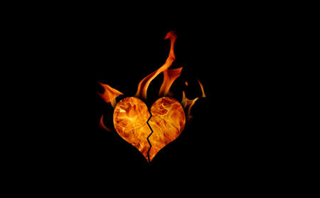 burning, passionate, fiery heart has black background photo