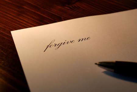 apology: to write apologies, letter apologizing, forgive me Stock Photo