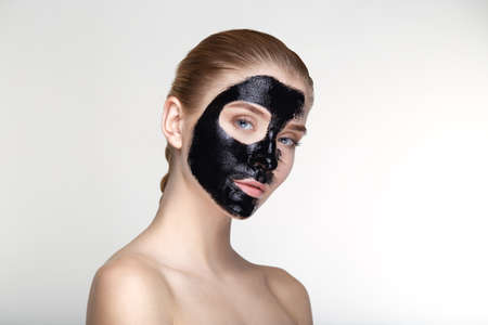 salve: Beauty portrait young woman healthy skin care health white background smile healthcare treatment copy space black mask salve close up