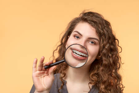 climatology: curly hair woman with brackets