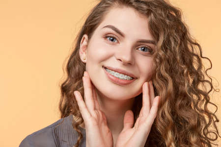 curly hair woman with brackets