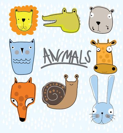 funny animal: Funny Animal Vector illustration Set