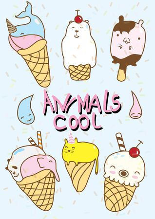 illustration collection: vector illustration of collection of animal ice cream