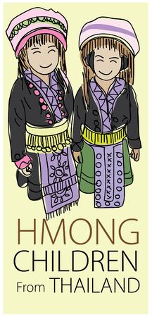 thailand culture: Vector drawing young Hmong northern Thailand