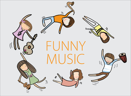 playmates: Illustration Happy Music Kids