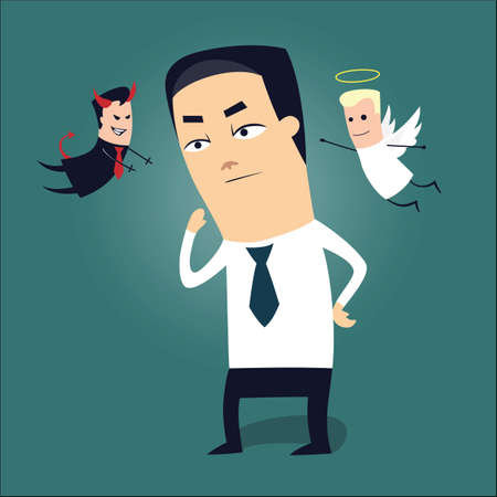 Vector illustration of a businessman trying to make a tough decision, with risk involved Vector