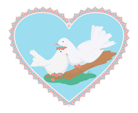 sweety: pair of white pretty pigeons on the tree in the heart-shape frame Illustration