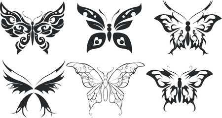 Set of six stencils butterfly on a white background Vector
