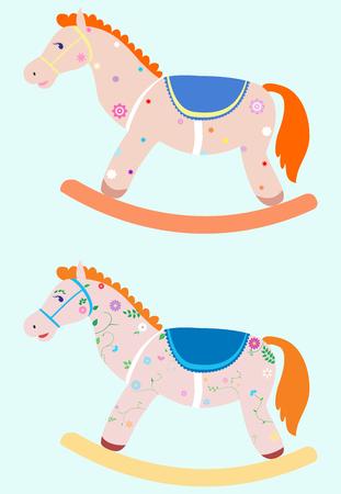 schommelpaard: twee versierde hobbelpaard op blauwe achtergrond Stock Illustratie