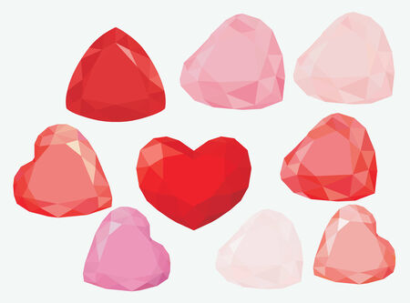 splendour: Red and pink Jewel hearts