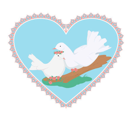 Couple of sweety white doves on white background Illustration