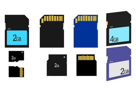 different types of sd card memory on white background Vector