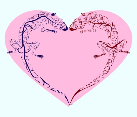 two tracery pattern lizards twisted pink heart