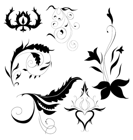 set of plant ornament decorative elements  on white background