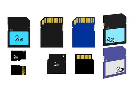highspeed: different types of sd card memory on white background