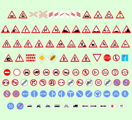 chauffeurs: ensemble de panneaux de signalisation pour les conducteurs de forme et de taille diff�rentes