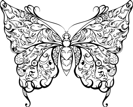 decorative black lace butterfly stencil  on white Vector