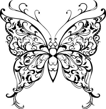 pattern decorative black lace butterfly on white Vector