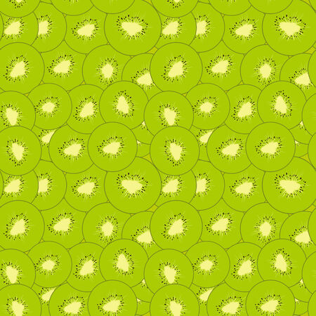 green kiwi seamless pattern, slices of fruit
