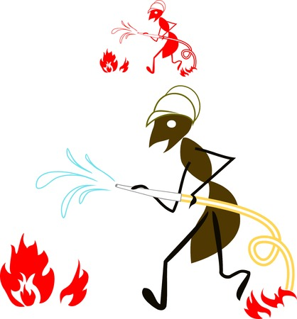 disastrous: ant fireman extinguish a fire by water Illustration