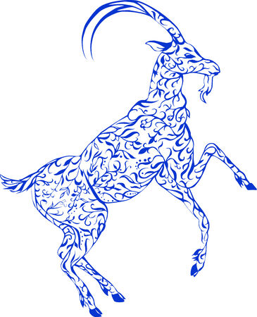 patterned floral goat print,  stylized floral animal Vector