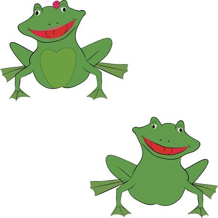leapfrog: pareja de dibujos animados divertidos ranas sonrientes verdes
